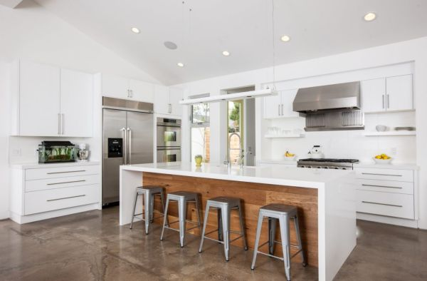 modern waterfall kitchen island countertop Keep Up With The Waterfall Countertop Trend - Looks That Inspire