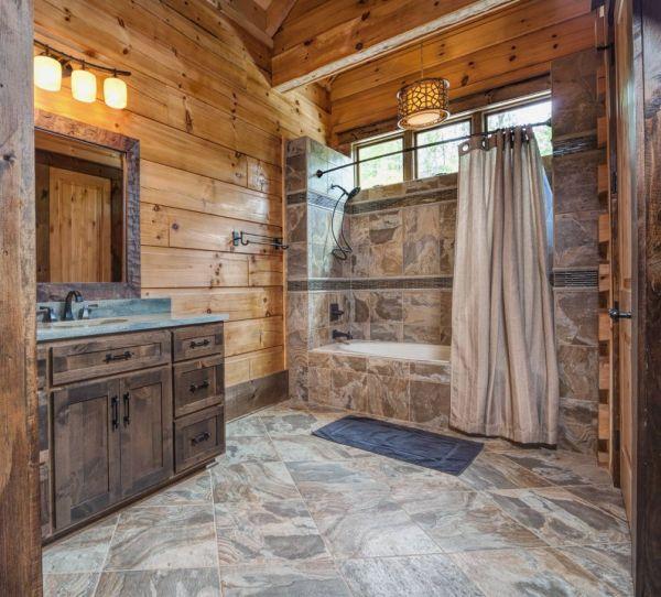 Rustic Log Cabin Bathroom Showers