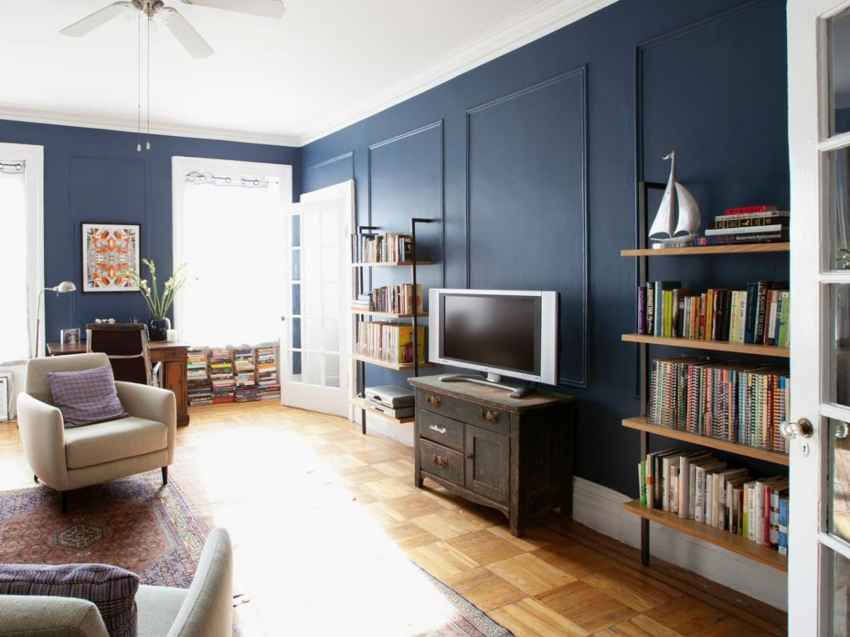 blue walls living room simple ceiling designs for in india 29 rooms made relaxing transitional dusty