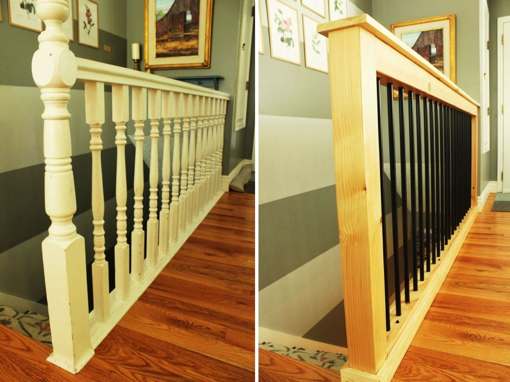 How To Give Your Old Stair Railings A Fresh New Look On A Small Budget | Replacement Wood Stair Balusters | Cheap | Horizontal | Hallway | Split Entry | Cast Iron