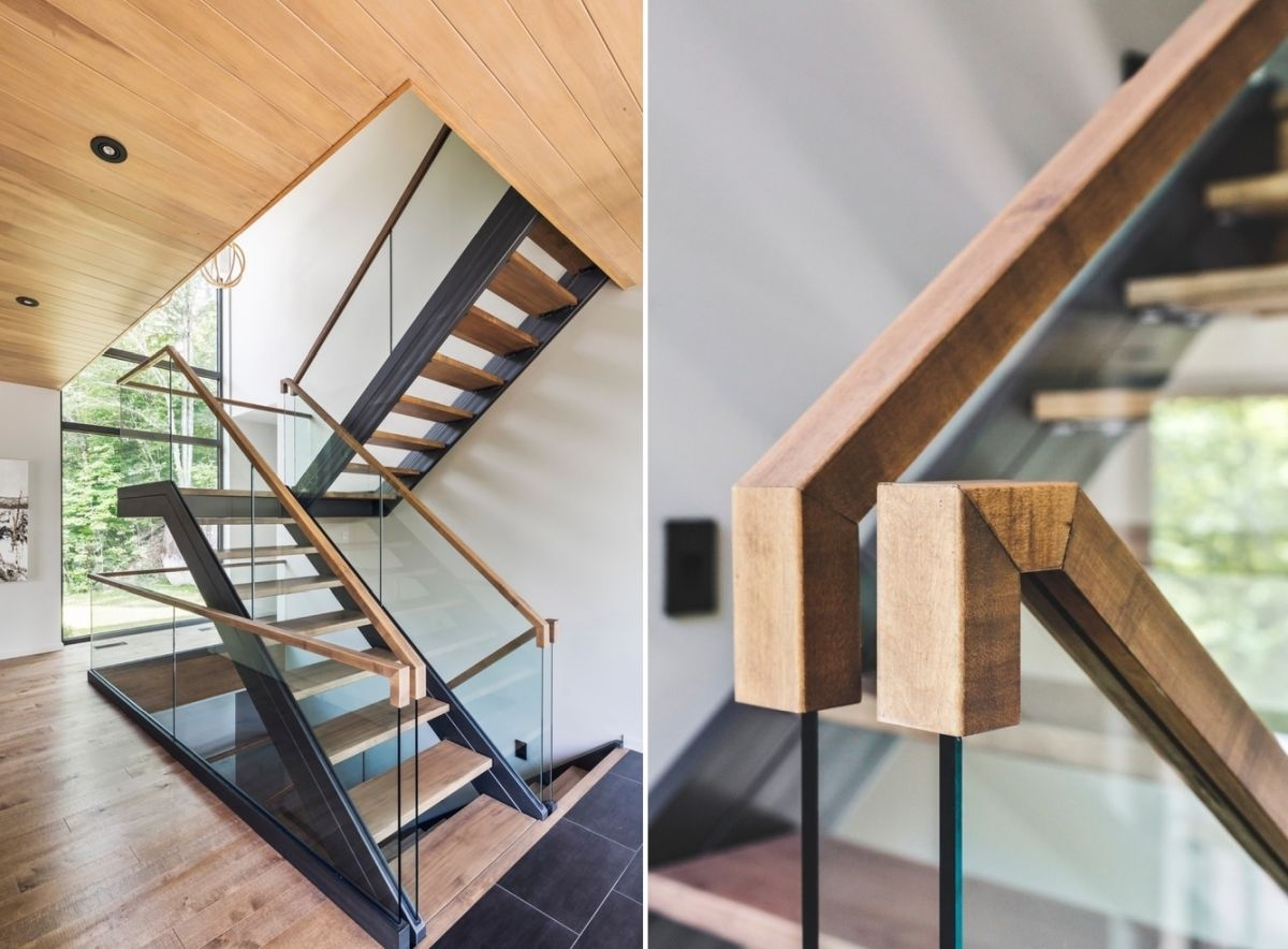 10 Stair Handrail Ideas With Glamorous Designs   Staircase Handrail Wood Design   Wooden Balustrade   Modern   3 Story House   Internal Staircase Railing   Railing Colour