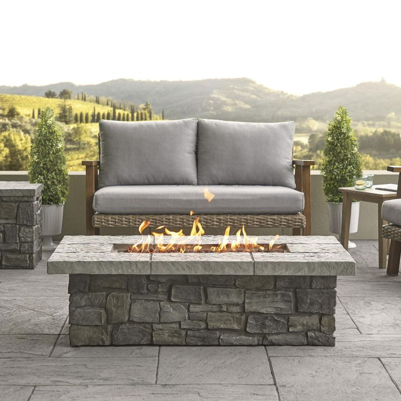 after dark with an outdoor gas fire pit