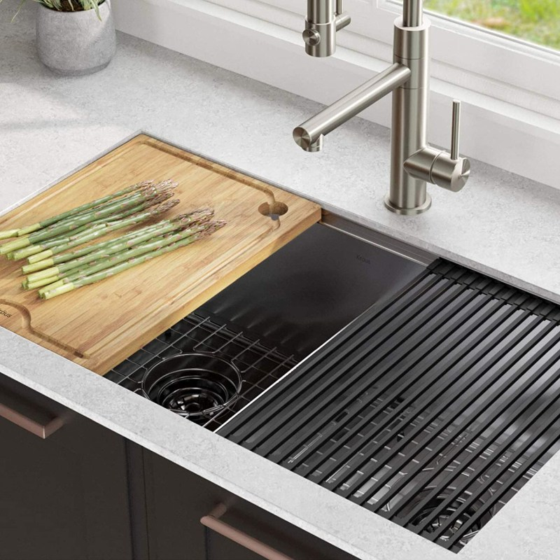 try double bowl kitchen sinks to