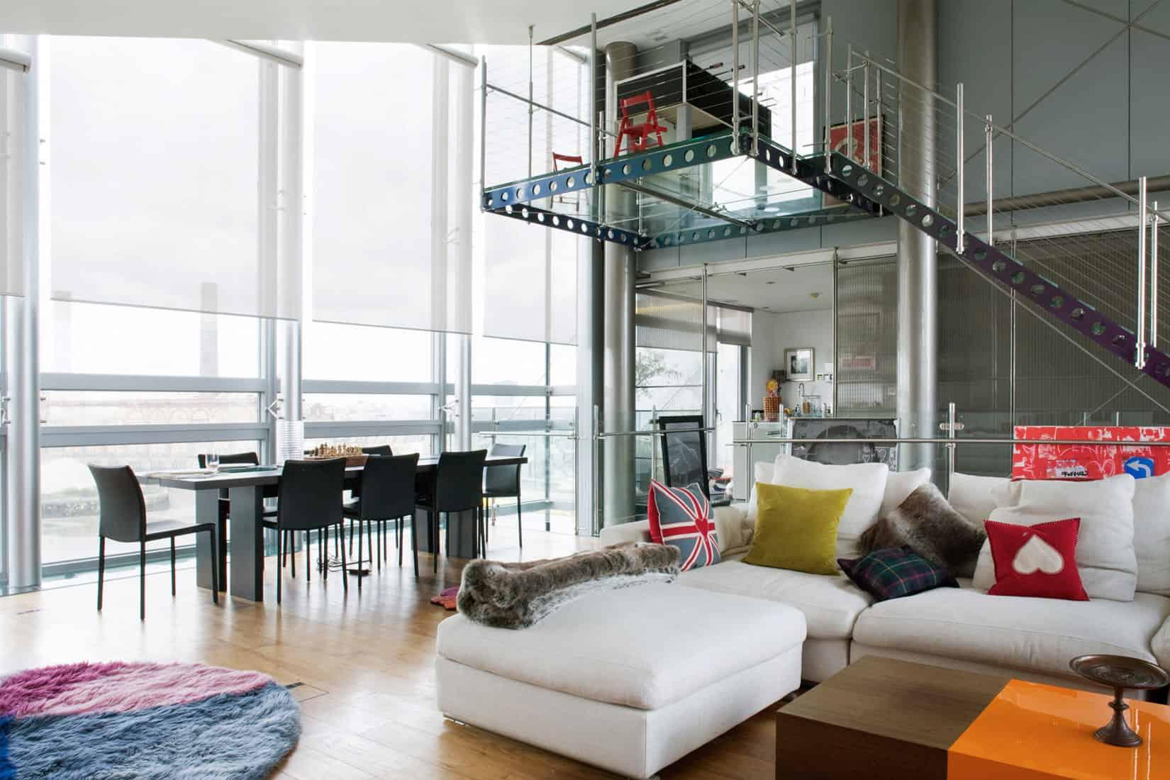 Modern penthouse with an unusual glass bathroom floor