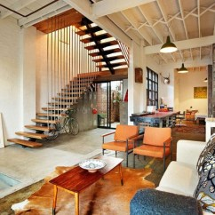 New York Loft Style Living Room Trendy Warehouse Conversion In Melbourne