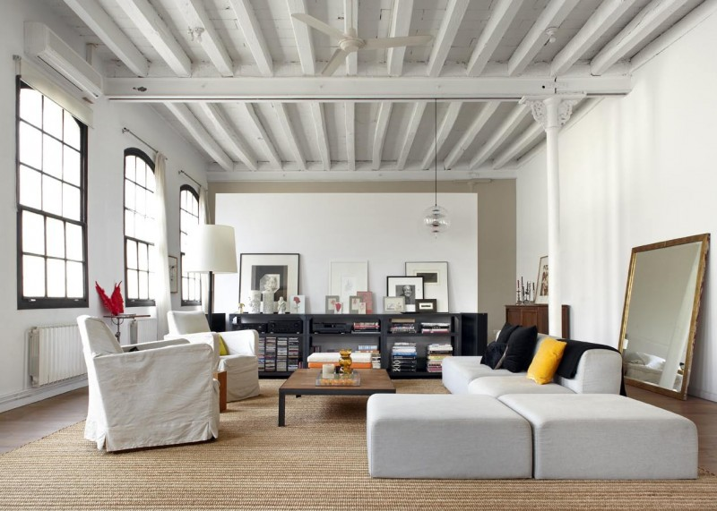 new york loft style living room small with corner fireplace in downtown barcelona by shoot 115