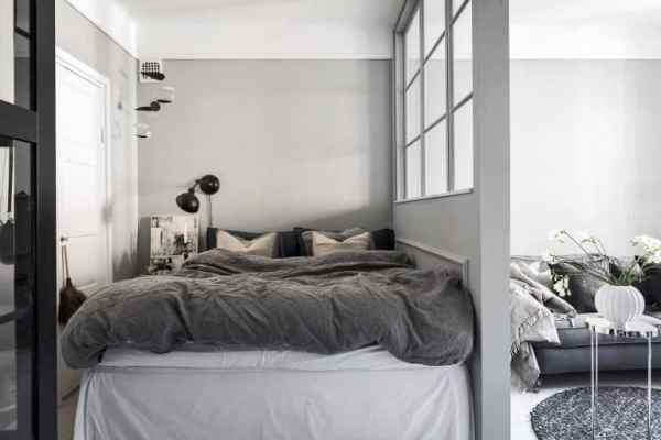 scandinavian bedroom design grey A Cozy Grey Scandinavian Studio Apartment