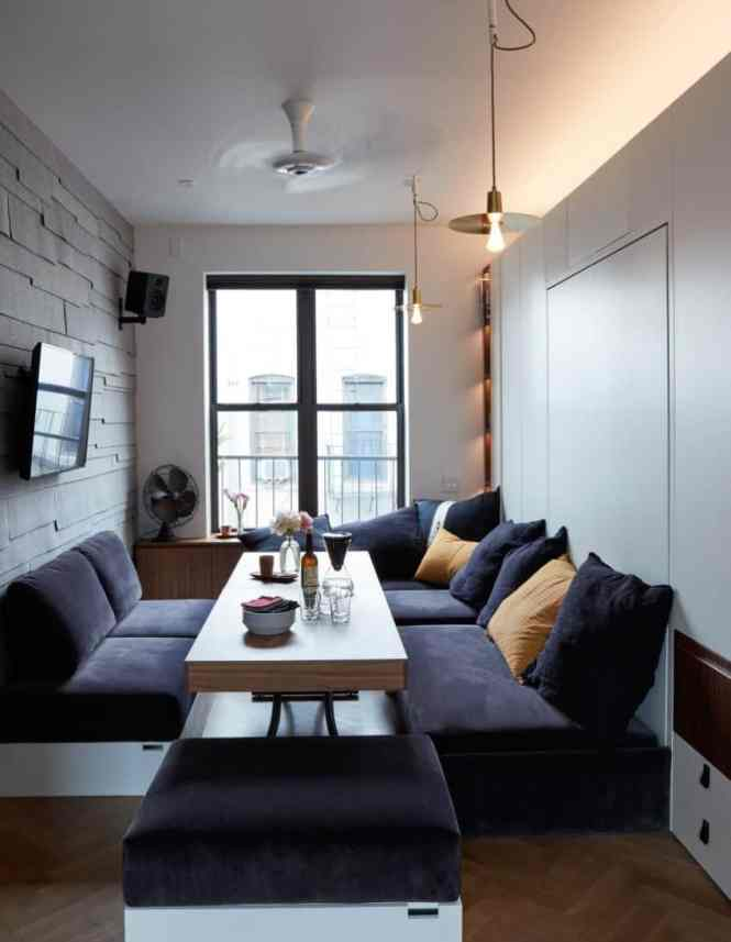 Small Apartment In Which The Expandable Furniture Has Been