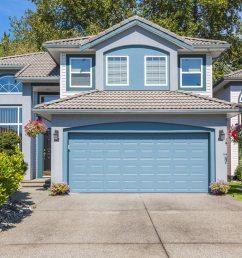 sectional aluminum garage door installation blue door matching blue home [ 1200 x 800 Pixel ]