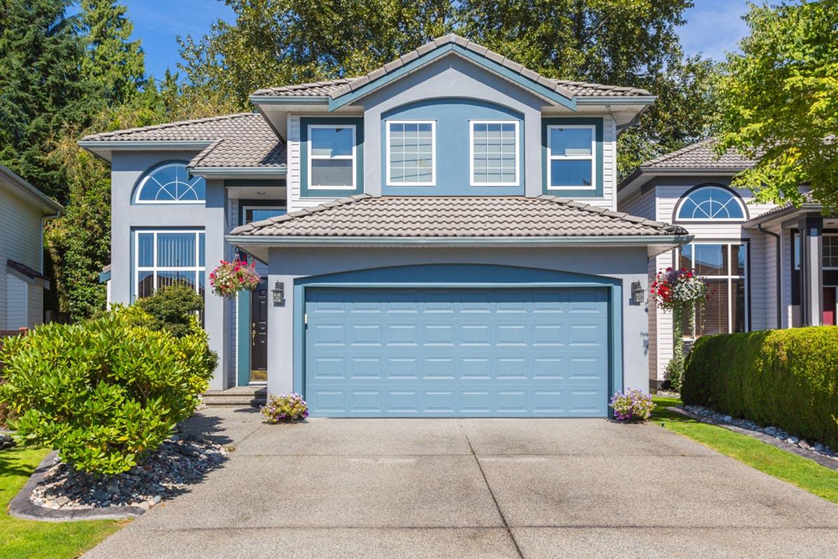 hight resolution of sectional aluminum garage door installation blue door matching blue home