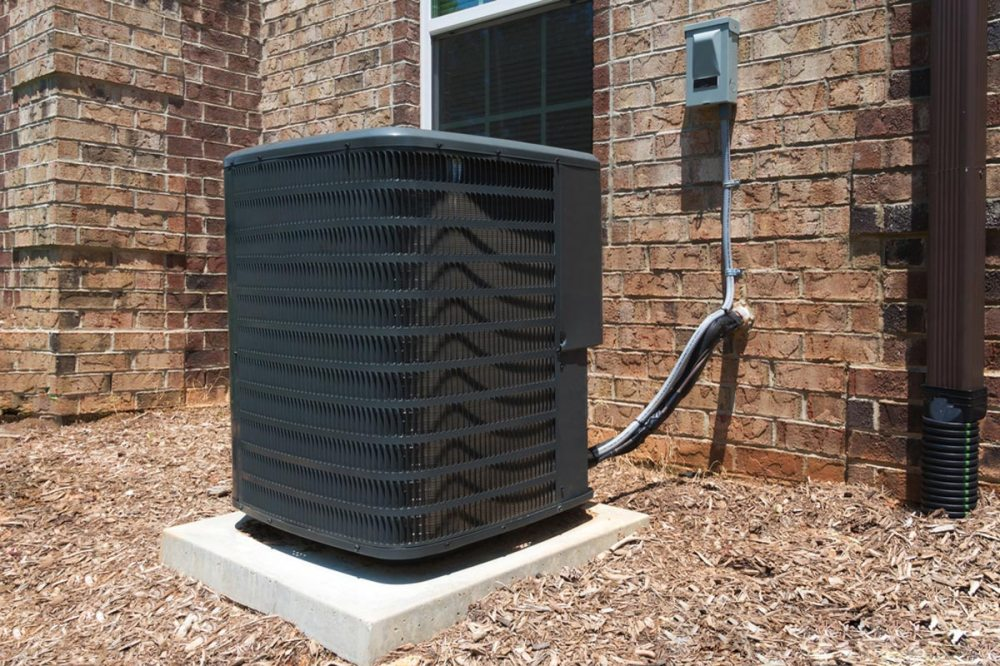 medium resolution of new black ac unit installed for central air conditioning