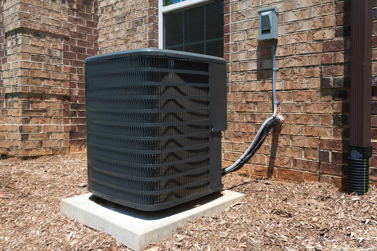 hight resolution of new black ac unit installed for central air conditioning