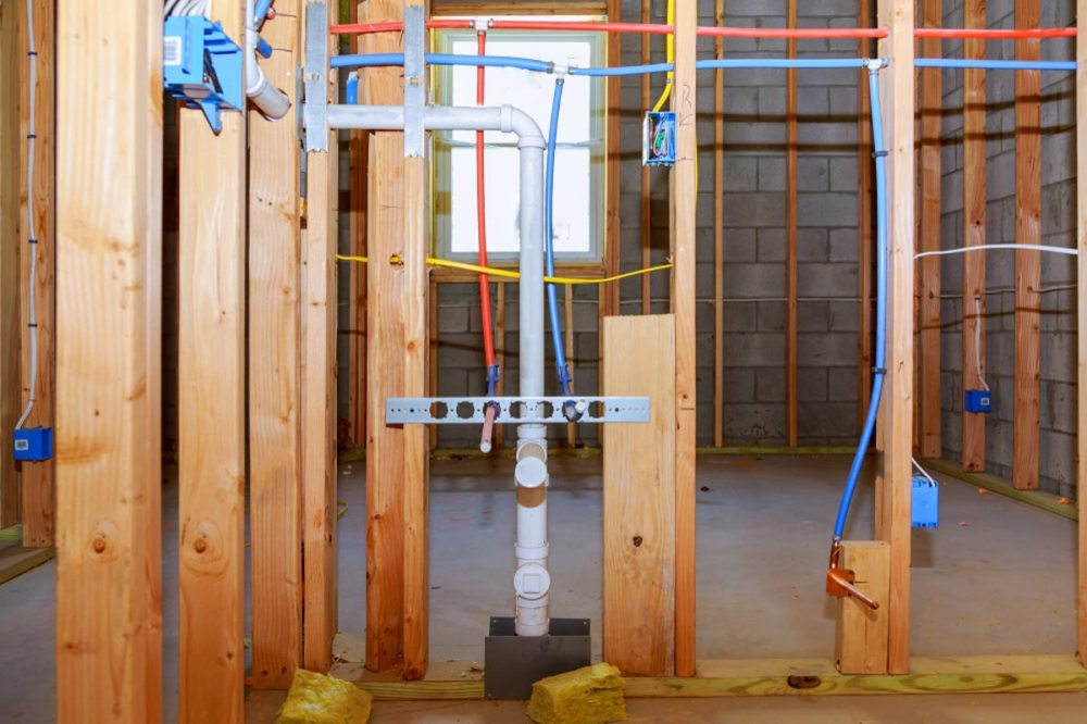medium resolution of new home construction with pex plumbing pipes and electrical wiring