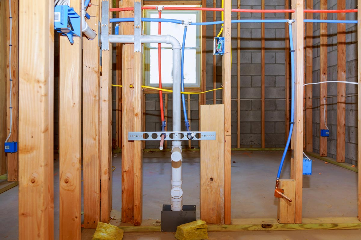 hight resolution of new home construction with pex plumbing pipes and electrical wiring