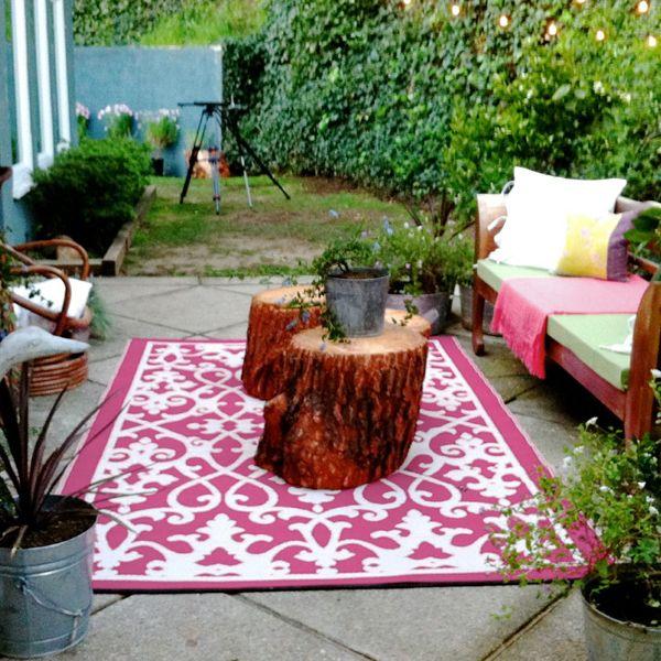 cream pink plastic outdoor rug patio