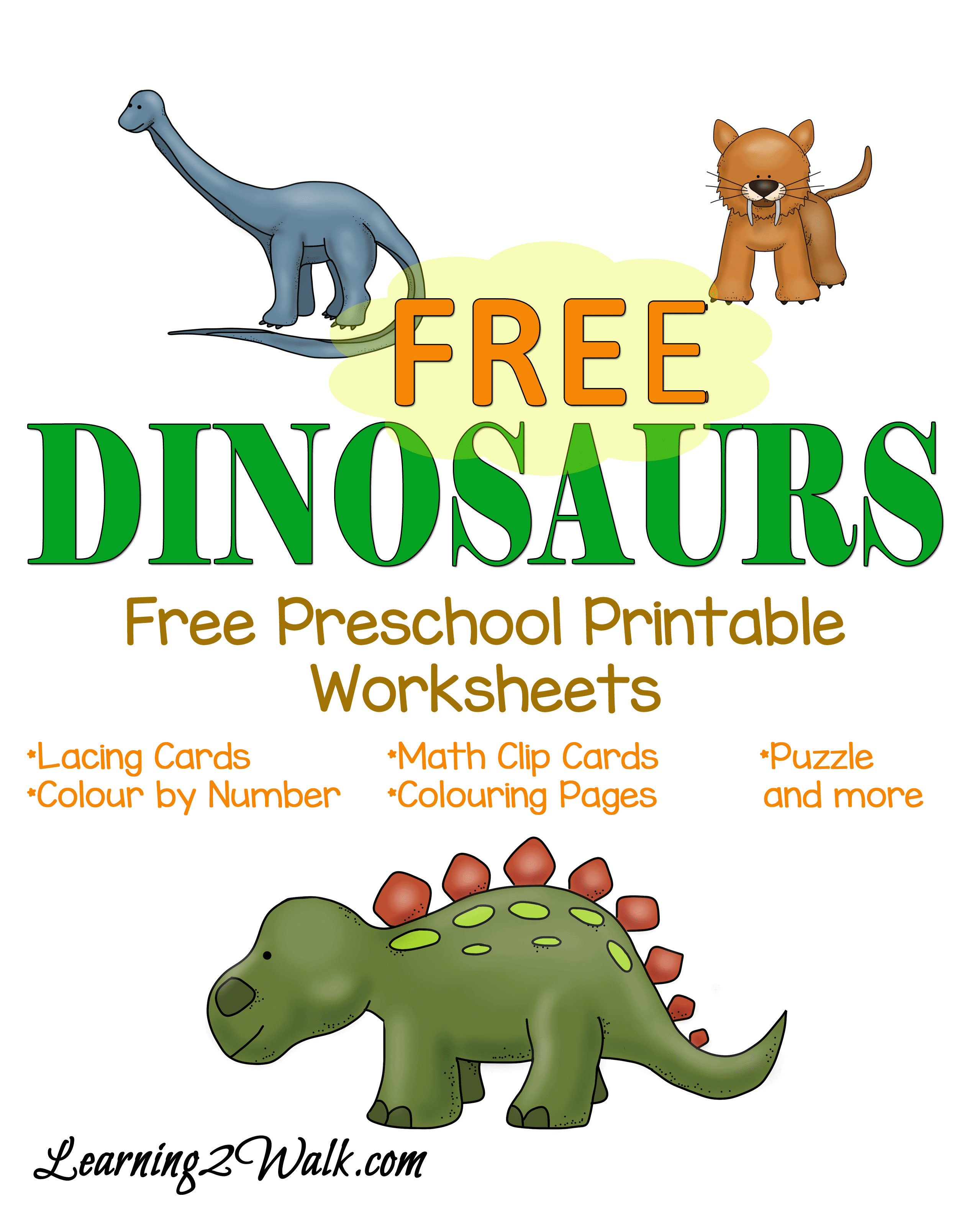 Free Dinosaur Preschool Printable Worksheets