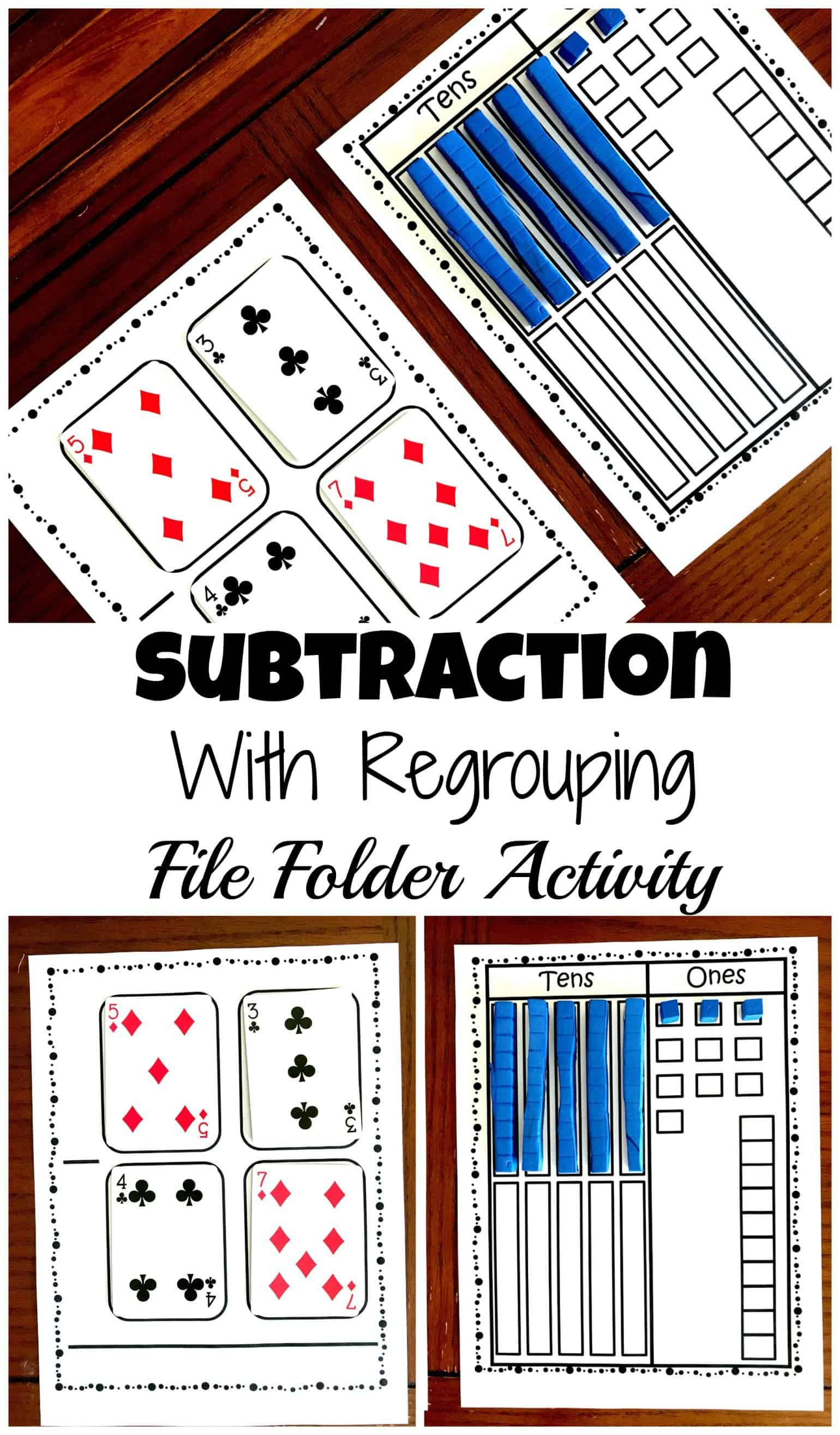 Subtractions With Regrouping File Folder Activity And Free