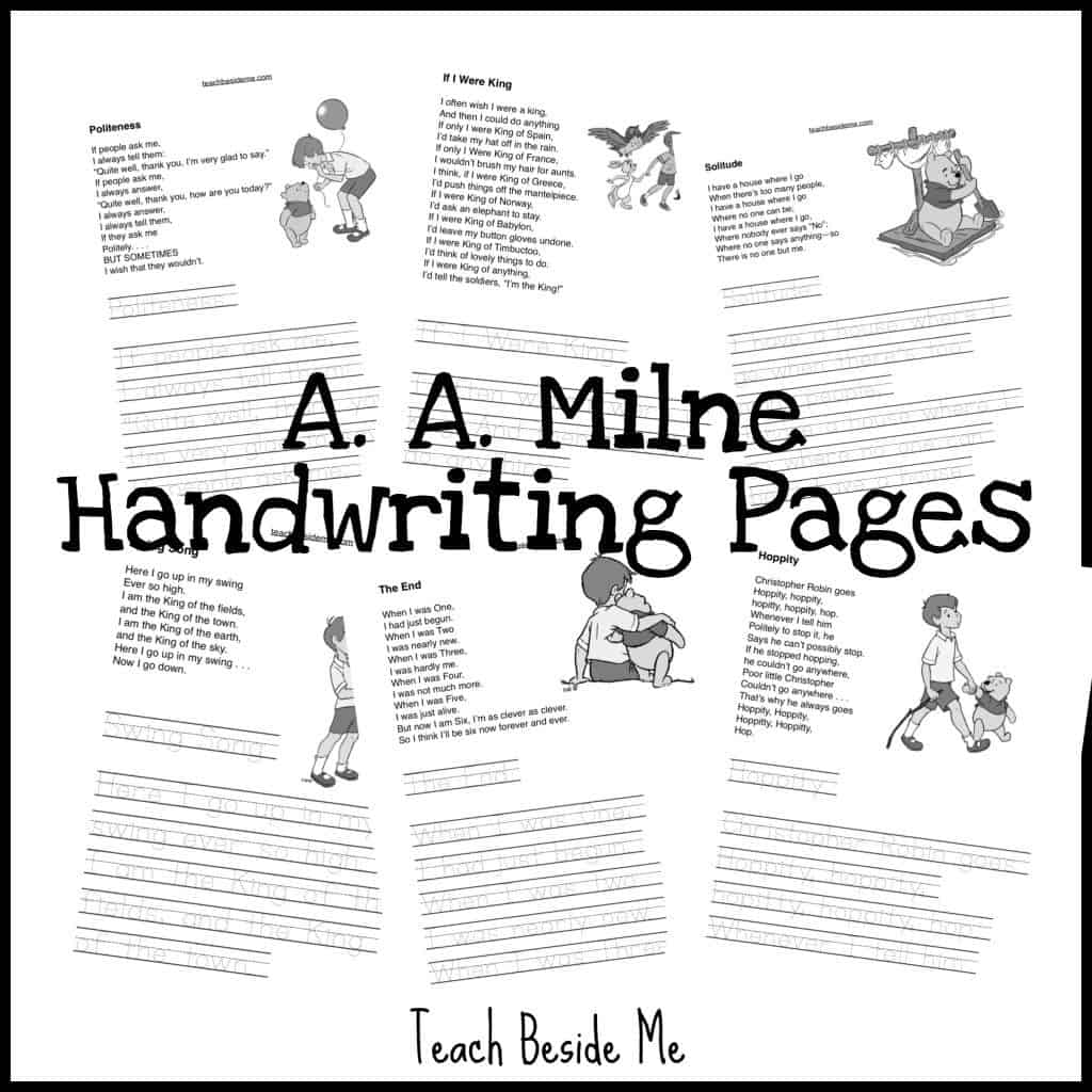 FREE A.A. Milne Copywork and Handwriting Pages
