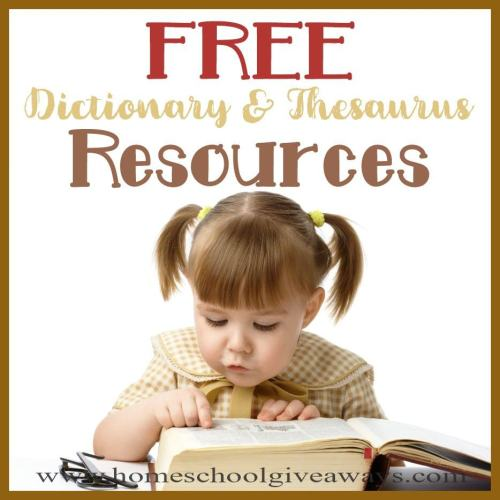 small resolution of FREE Dictionary \u0026 Thesaurus Resources - Homeschool Giveaways