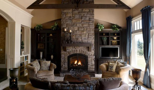 Living Room with Stone Fireplace Design
