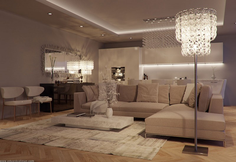 luxury apartment living room ideas for curtains in luxurious rooms a small designed by eduard beige modern color inspiration embedded