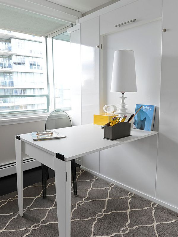 Grey And White Lounge Ideas Space-saving Hideaway Desks For Small Apartment Designs