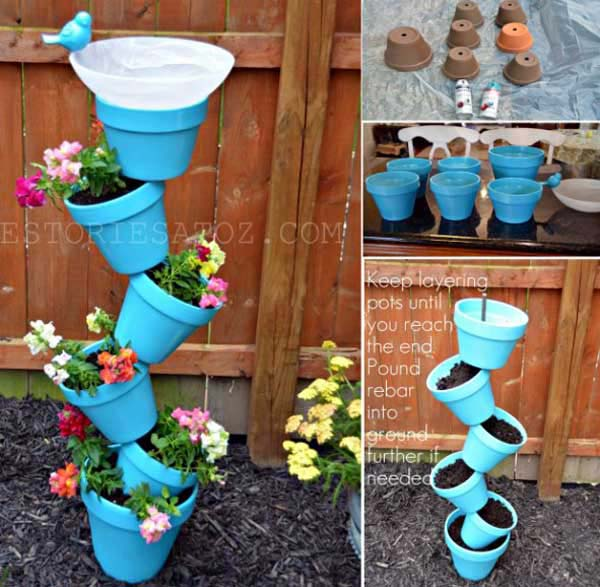 26 Beautiful Simple and Inexpensive Garden Projects Realized With Clay Pots homesthetics decor ideas (8)
