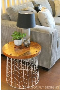 cheap side tables for living room colors ideas 15 beautiful diy coffee table add a wooden slice to trash can and voila perfect