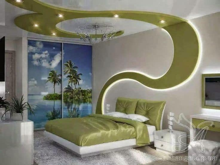 false ceiling designs for living room the best design 2016 30 gorgeous gypsum to consider your home decor 11 creative green pattern with drywall and led lights