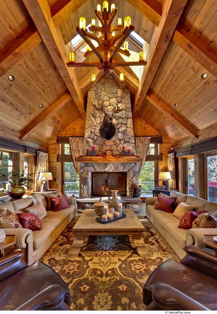 38 Rustic Country Cabins With A Stone Fireplace For A Romantic Get Away