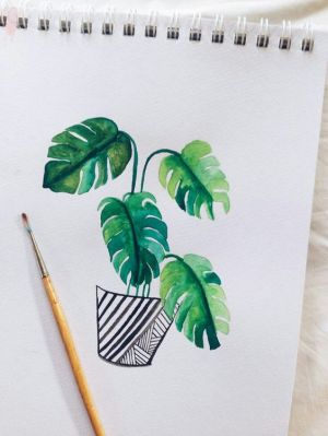 watercolour watercolor simple drawing paintings monstera easy drawings cool paint leaves gouache tutorial illustration process painting water surelysimple tropical watercolours