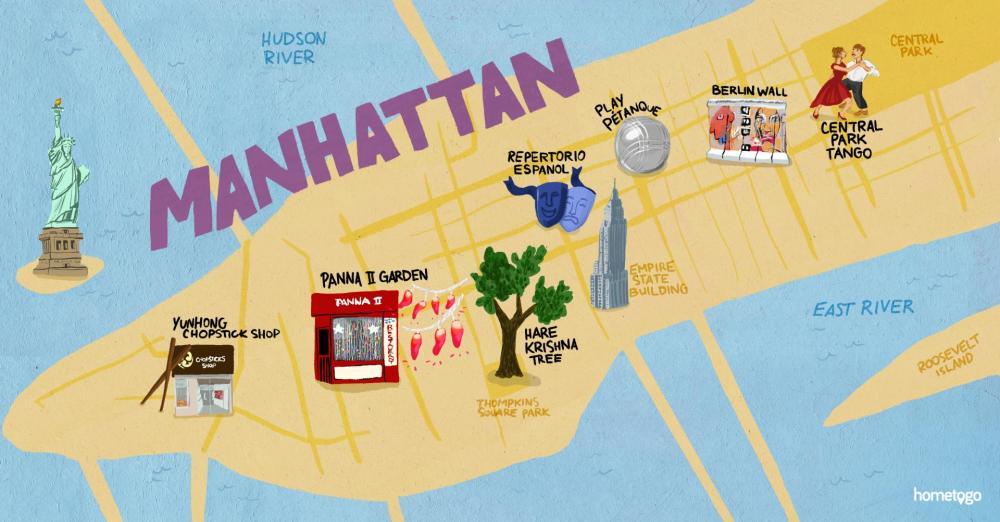 medium resolution of hand drawn map of manhattan featuring 7 original must sees of this neighborhood