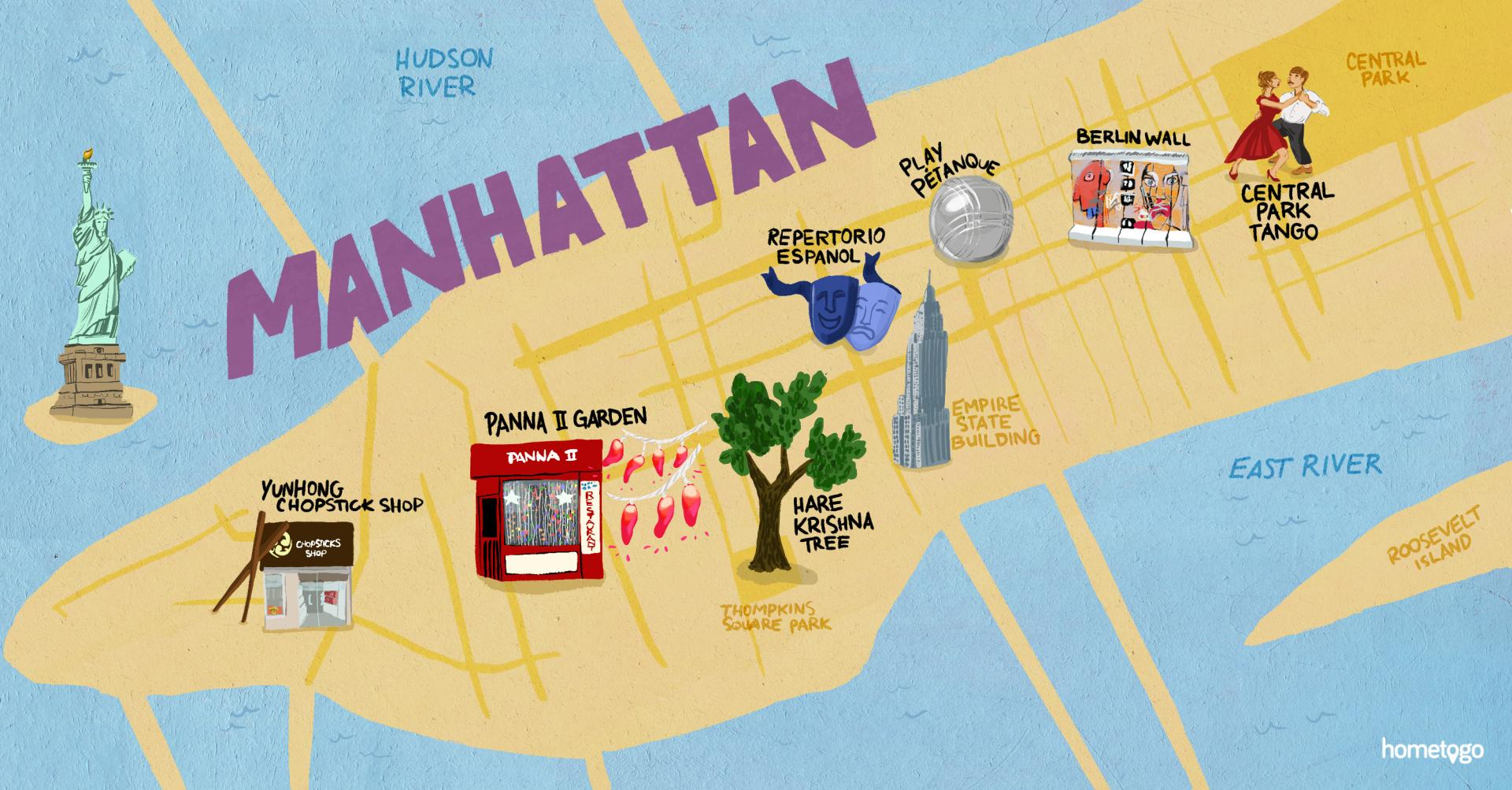 hight resolution of hand drawn map of manhattan featuring 7 original must sees of this neighborhood