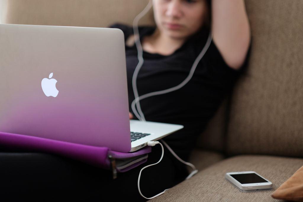 Girl sitting on computer