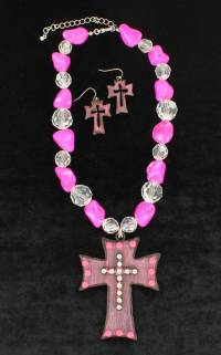 Large Pink Cross Necklace and Earrings Set | HorseLoverZ