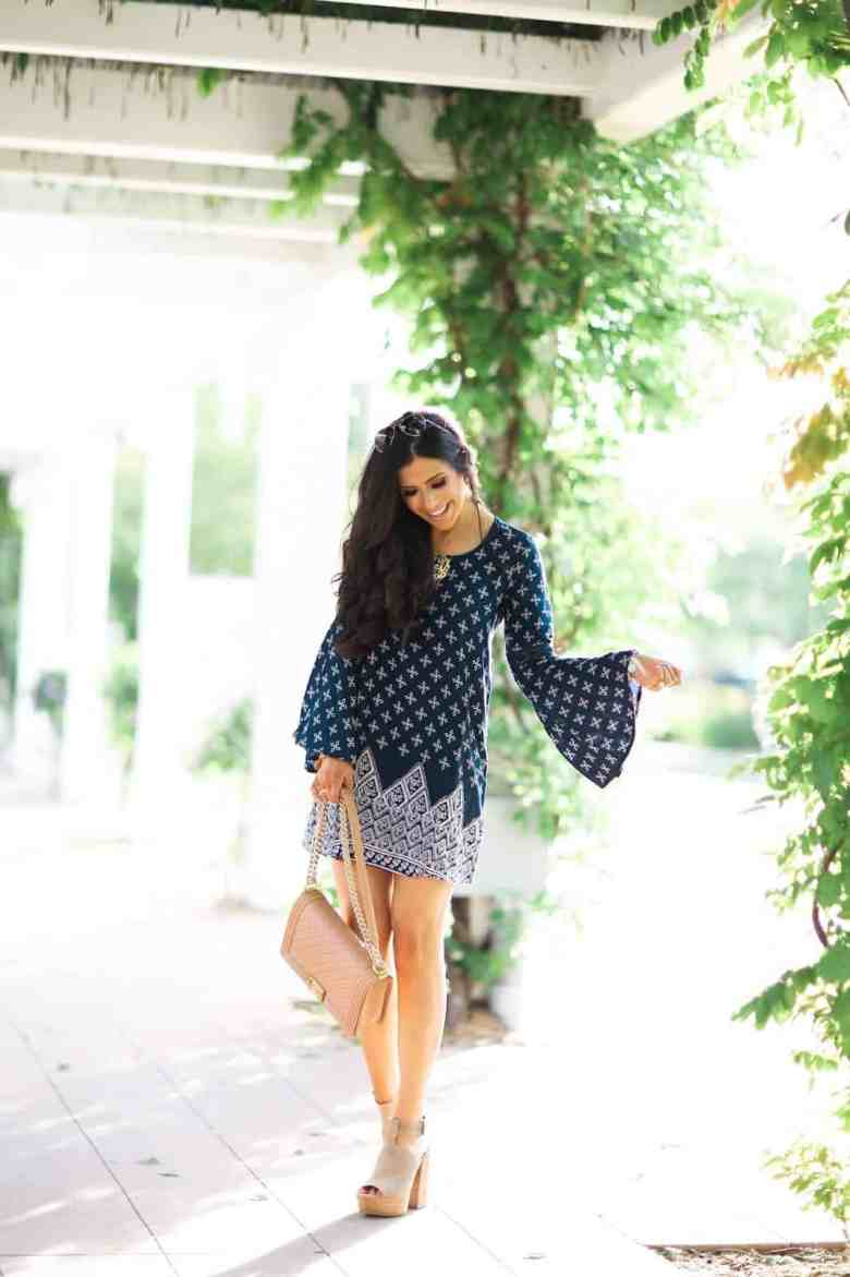 the sweetest thing blog, emily gemma, bell sleeve dress nordstrom
