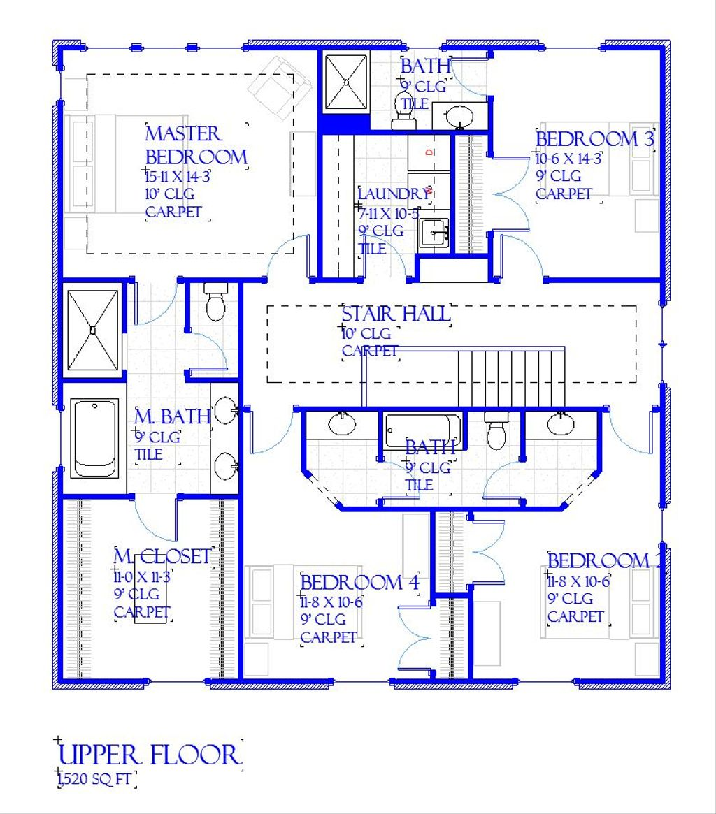 Traditional Style House Plan 4 Beds 3 5 Baths 3221 Sq Ft