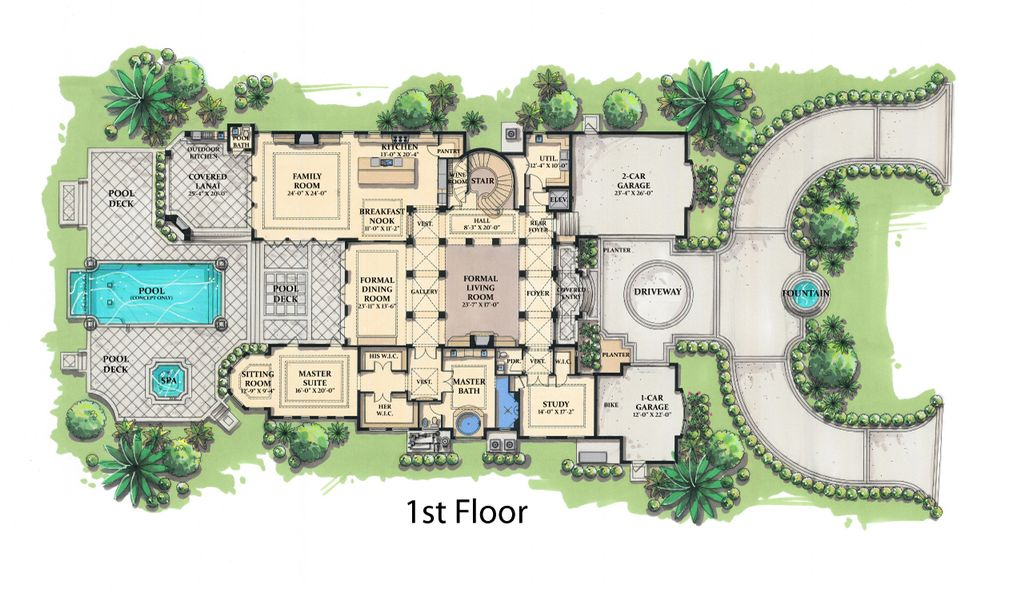 Mediterranean Style House Plan 5 Beds 5 5 Baths 8001 Sq
