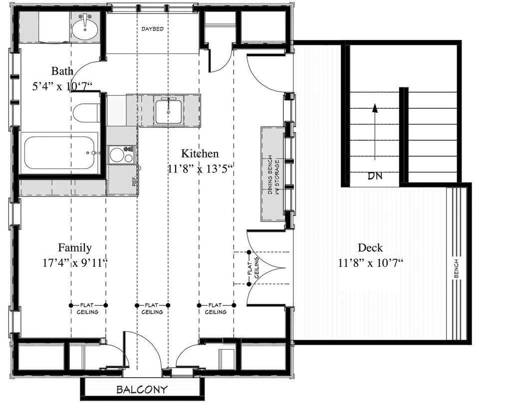 Cottage Style House Plan 1 Beds 1 Baths 400 Sq Ft Plan