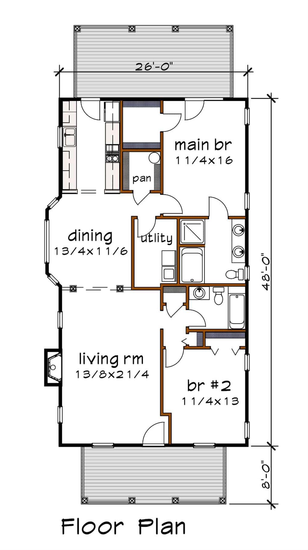 Bungalow Style House Plan 2 Beds 2 Baths 1268 Sq Ft Plan 79 174 Builderhouseplans Com