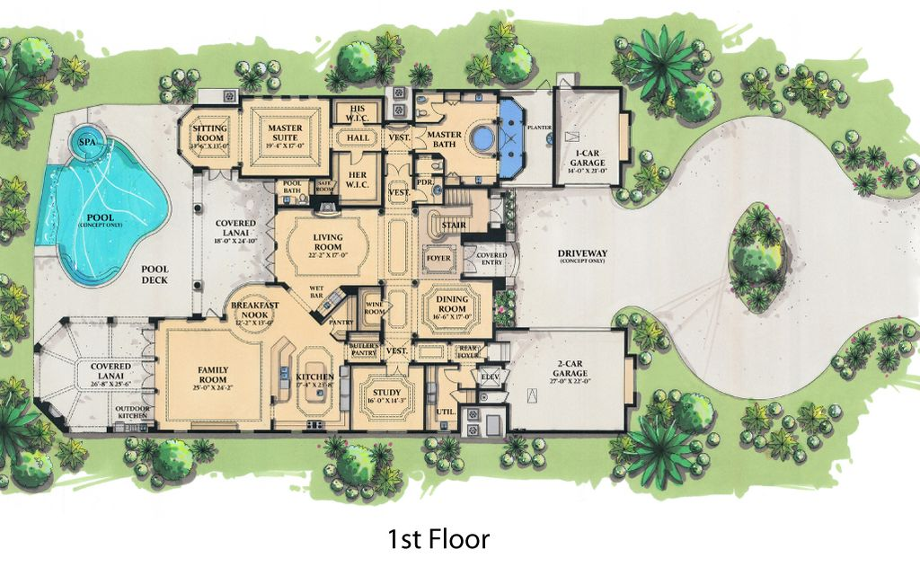 Mediterranean Style House Plan 6 Beds 7 5 Baths 7395 Sq