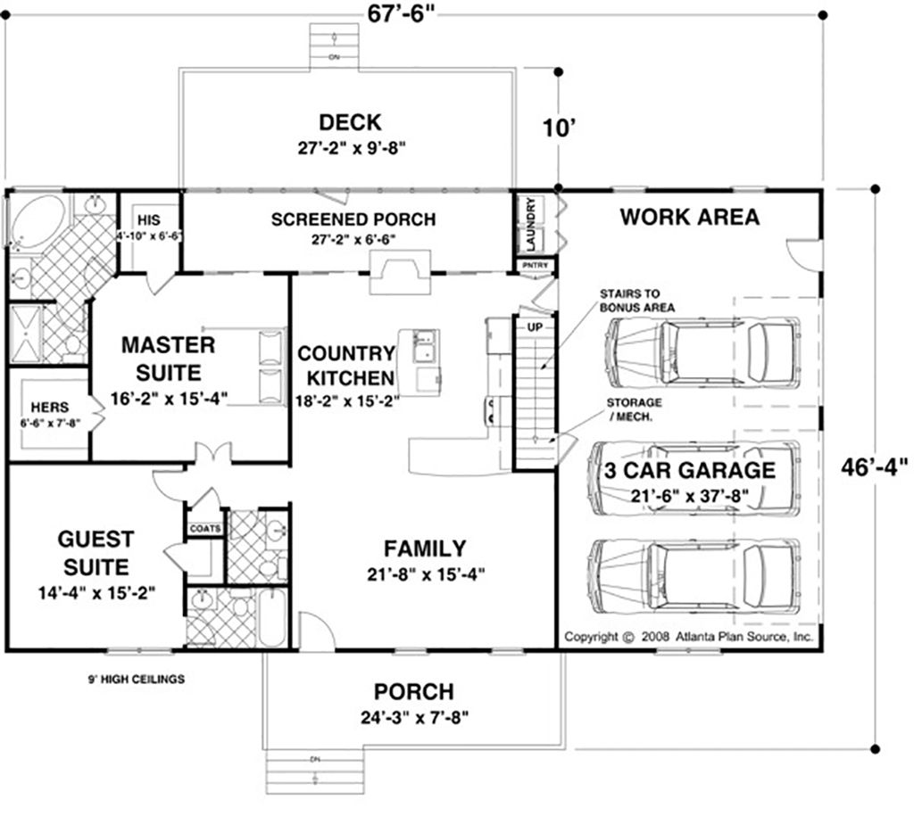 Ranch Style House Plan 2 Beds 2 5 Baths 1500 Sq Ft Plan