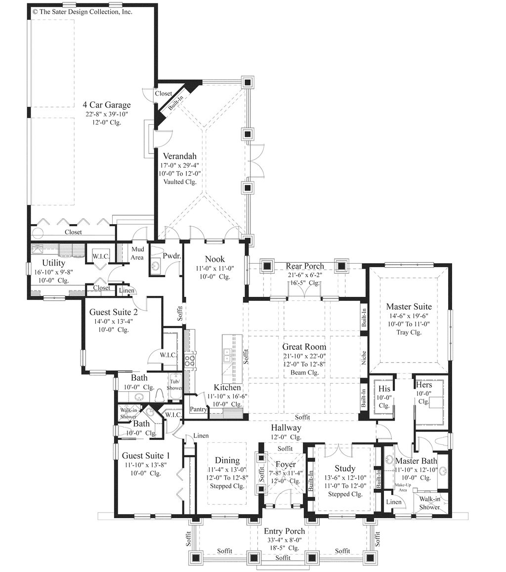 hight resolution of bungalow style house plan 3 beds 3 5 baths 3108 sq ft plan 930