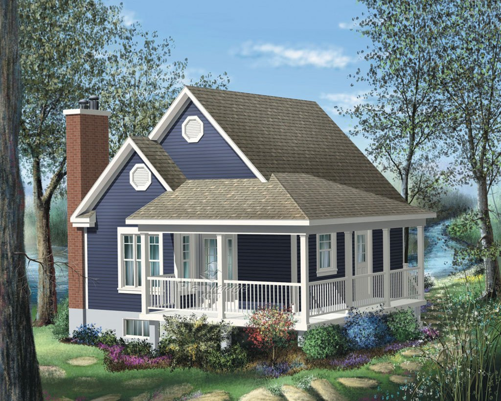 Cottage Style House Plan - 1 Beds Baths 613 Sq Ft