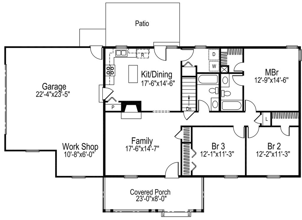 Ranch Style House Plan 3 Beds 2 Baths 1360 Sq Ft Plan