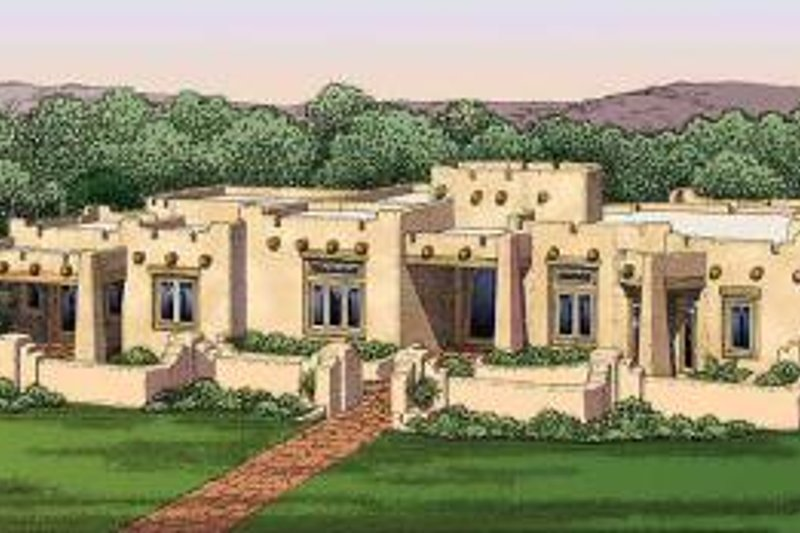 Adobe / Southwestern Style House Plan - 3 Beds 3.5 Baths ...