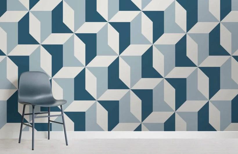 Blue Abstract Geometric Wallpaper Mural Hovia