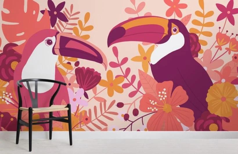 carta da parati floreale dipinta a mano in una disposizione lineare informale. Carta Da Parati Rosa Con Tucani E Fiori Hovia It