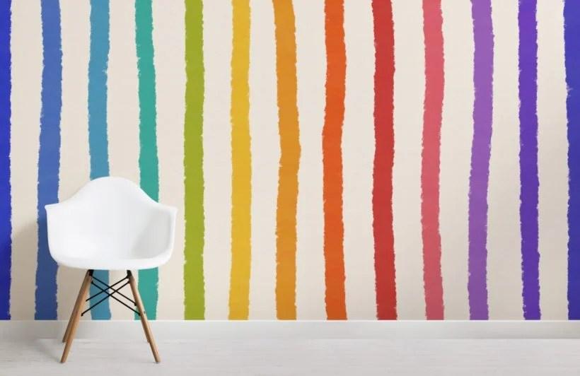 Replica l'effetto unico e colorato dell'armadio n.o.w. Carta Da Parati A Righe Colorate Verticali Hovia It