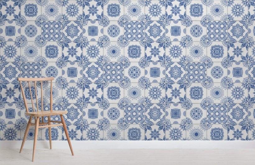 white blue portuguese tiled wallpaper mural